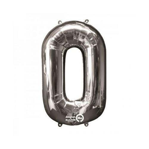 Numero 0 hopeanvärinen foliopallo 66cm