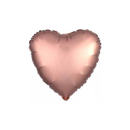 Satiiniruusukulta sydän foliopallo 40cm