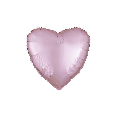 Satiinivaaleanpunainen sydän foliopallo 40cm