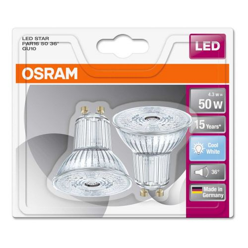 Osram LED kohdelamppu 4,3W 4000K GU10 2 kpl