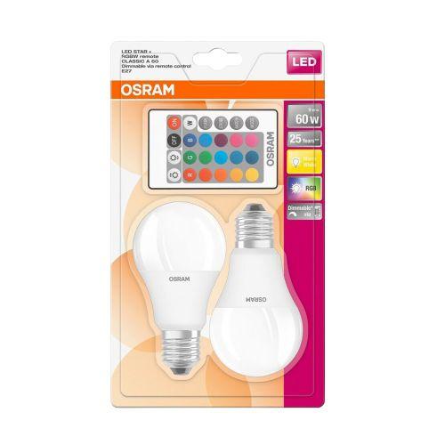 Osram LED Star vakiolamppu 9W 2700K E27 2 kpl sis. kaukosäätimen