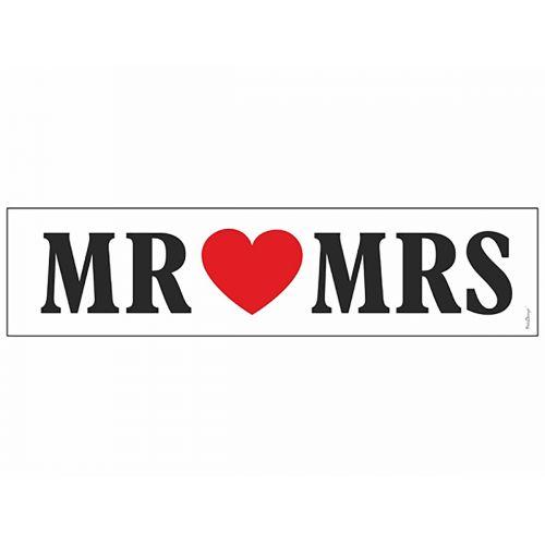 Hääkyltti pahvia, tekstillä Mr. & Mrs.