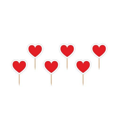 CUPCAKE TOPPERS HEART, 10CM 6KPL