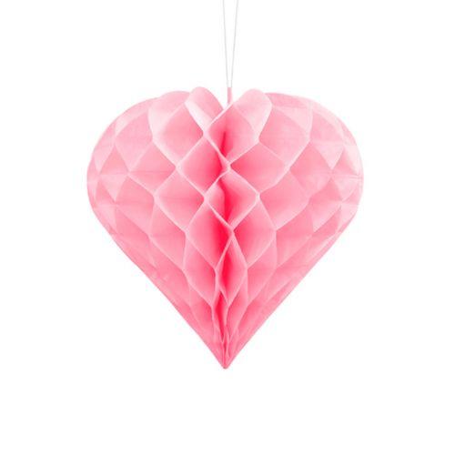 HONEYCOMB HEART, LIGHT PINK, 20CM