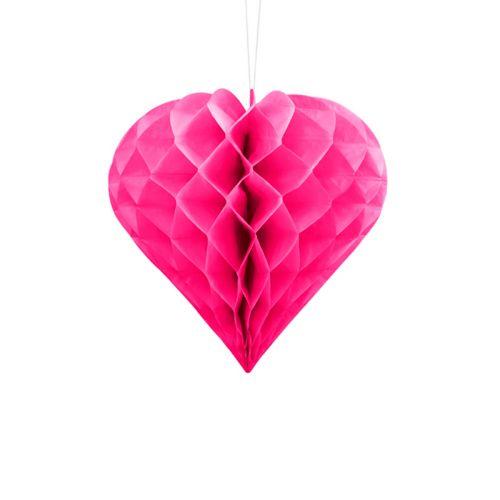 HONEYCOMB HEART, DARK PINK, 20CM