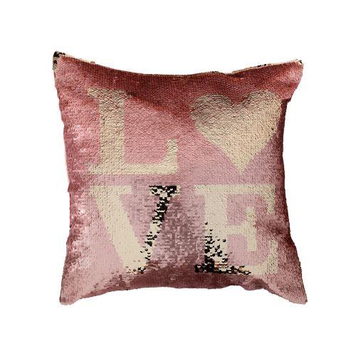 Koristetyyny Love roosa-kulta 40x40cm