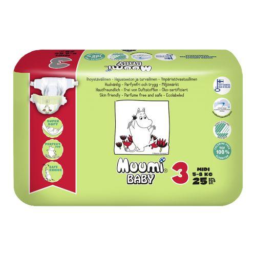 MUUMI BABY  3, 5-8 KG  25 KPL
