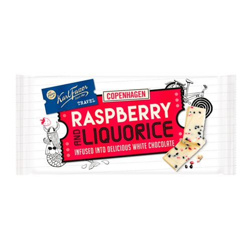 Karl Fazer Travel Raspberry & Liquorice suklaalevy 130g