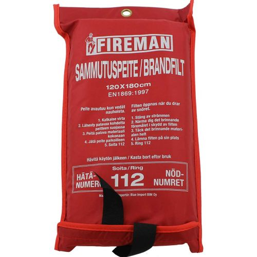 FIREMAN SAMMUTUSPEITE 180X120 CM, PUNAINEN