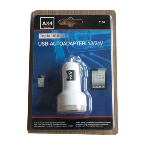 USB AUTOLATURI 12/24V TUPLALIITIN 2.1A