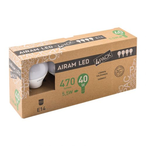 AIRAM LED 5,5W 470 LM. 4-PACK MAINOS E14, 2700K
