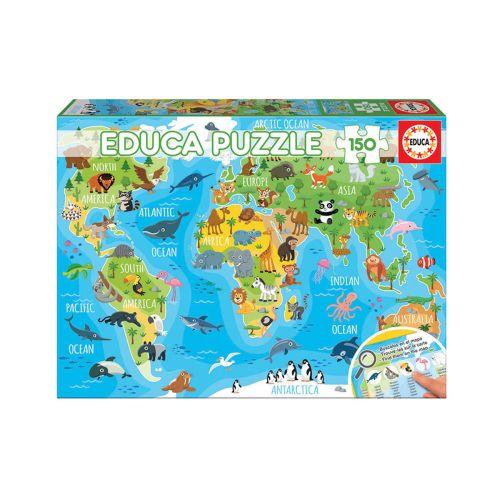 Educa 150 palaa World Map Animals