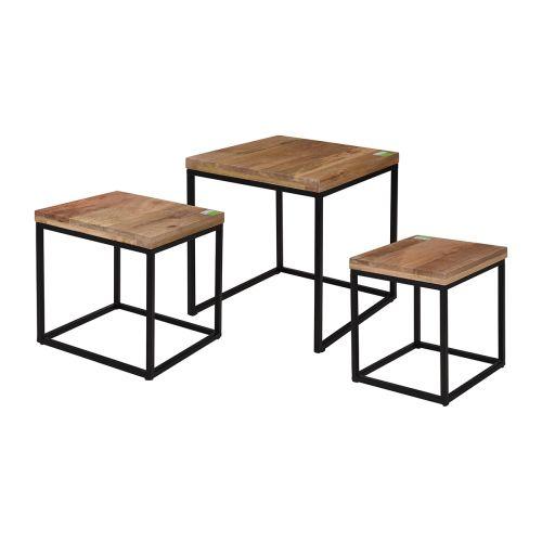 Pöytä 40x40x3cm puu kannella, metallijalat