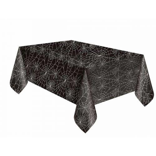 Hämähäkinverkko muovinen pöytäliina musta 137x213cm