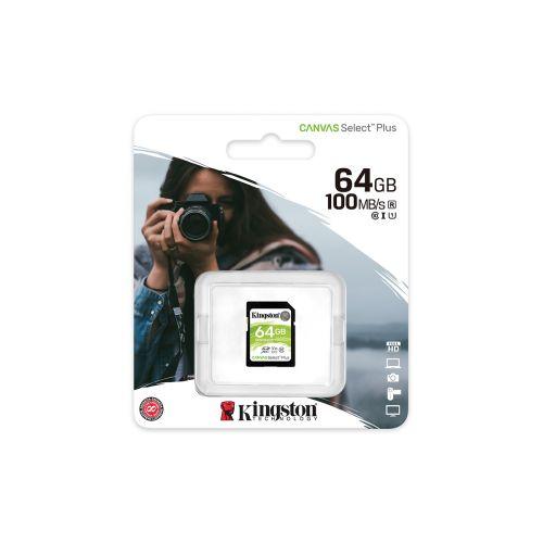 KINGSTON MUISTIKORTTI 64GB SDHC CANVAS SELECT PLUS 100R C10 UHS