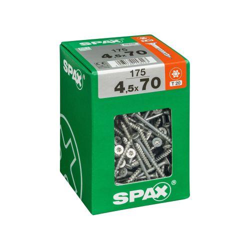 SPAX RUUVI TORX UPPOKANTA, OSAKIERRE WIROX 4,5X70 XXL 175KPL