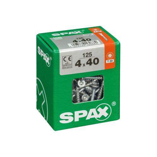 SPAX RUUVI TORX UPPOKANTA, OSAKIERRE WIROX 4X40 L 125KPL