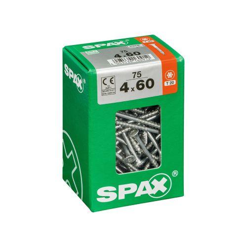 SPAX RUUVI TORX UPPOKANTA, OSAKIERRE WIROX 4X60 L 75KPL