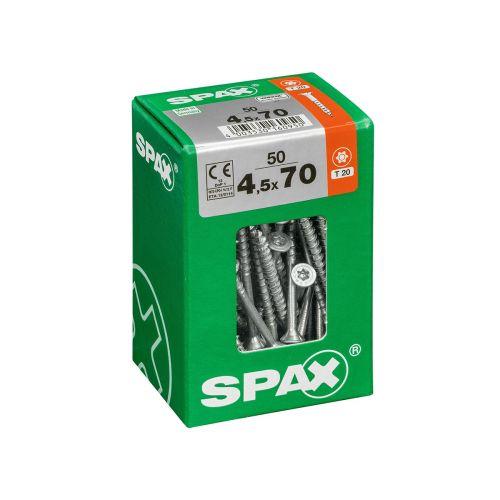 SPAX RUUVI TORX UPPOKANTA, OSAKIERRE WIROX 4,5X70 L 50KPL
