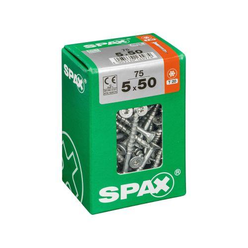 SPAX RUUVI TORX UPPOKANTA, OSAKIERRE WIROX 5X50 L 75KPL