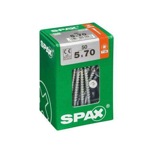 SPAX RUUVI TORX UPPOKANTA, OSAKIERRE WIROX 5X70 L 50KPL