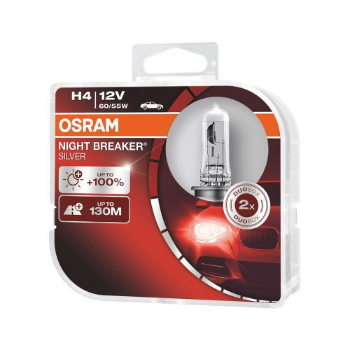 OSRAM H4 NIGHT BREAKER SILVER 2 KPL 100%
