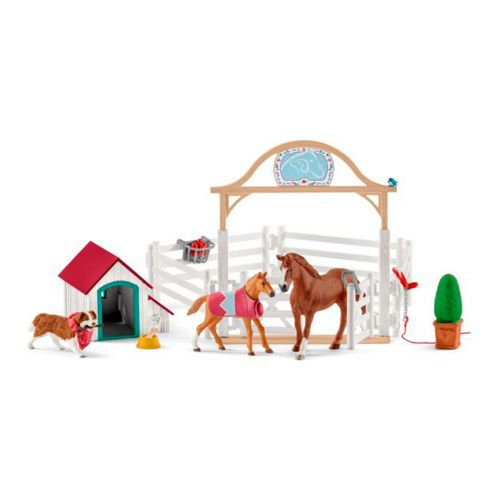SCHLEICH HANNAH'S GUEST HORSES WITH DOG
