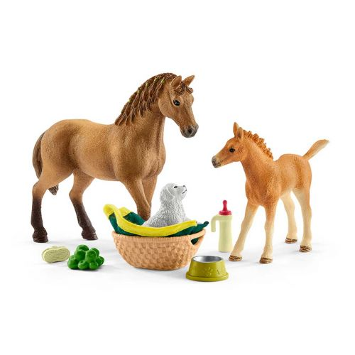 SCHLEICH BABY GROOMING SET & HORSE WITH PUPPY