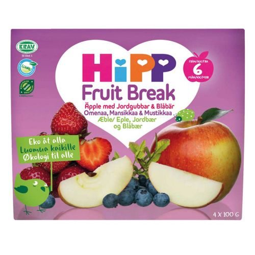 HIPP FRUIT BREAK OMENAA, MANSIKKAA&MUSTIKKAA 4-PACK 6KK LUOMU 4 x 100 g