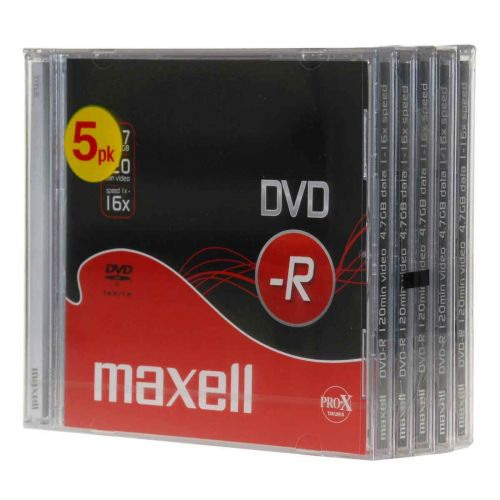 MAXELL DVD-R 4.7GB, 120MIN, 16X 5-PACK
