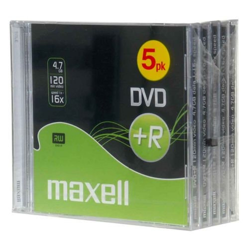 MAXELL DVD+R 4.7GB, 120MIN, 16X 5-PACK