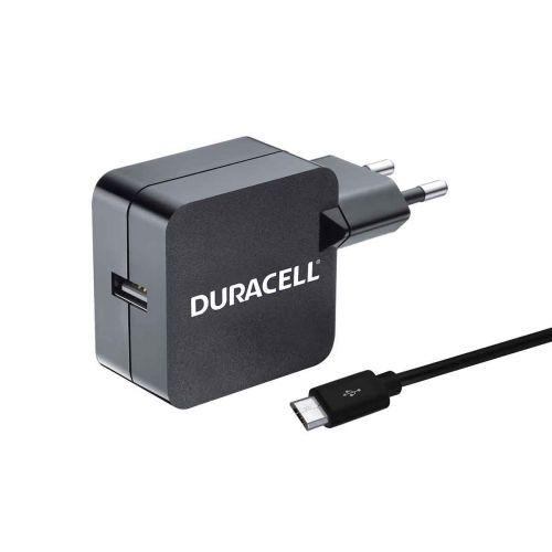 DURACELL USB 2.4A - SEINÄLATURI MICRO-USB JOHDOLLA, MUSTA