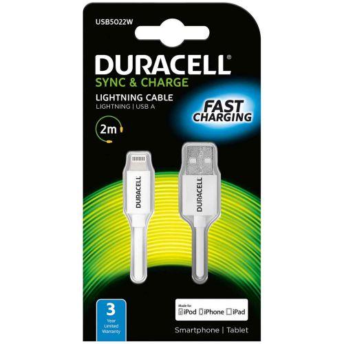 DURACELL USB - APPLE MFI DATAKAAPELI VALKOINEN 2M