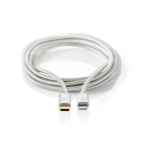 NEDIS PIKALATAUSKAAPELI APPLE LIGHTNING, USB-C, 2 M, ALUMIINI