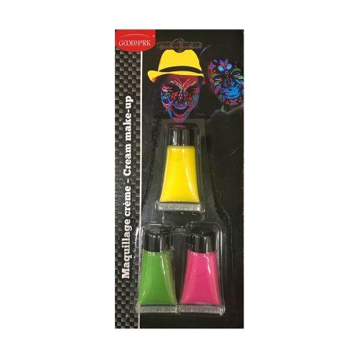 UV Kasvovärituubit 3 kpl/pkt (keltainen, vihreä ja pinkki)
