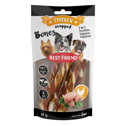 BEST FRIEND BONES 3IN1 PURUTIKUT KANAFILEELLÄ 12CM 6KPL 66 G