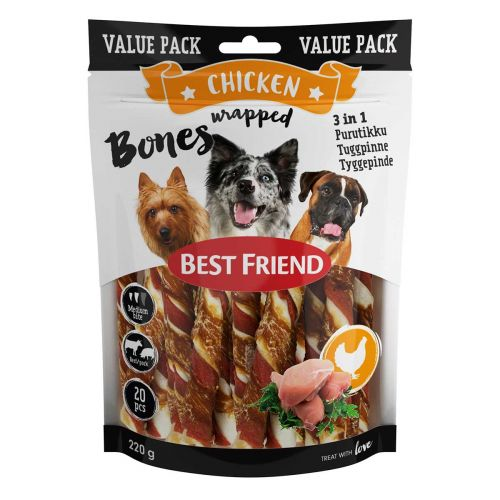 BEST FRIEND BONES 3IN1 PURUTIKUT KANAFILEELLÄ 12CM 20KPL 220 G