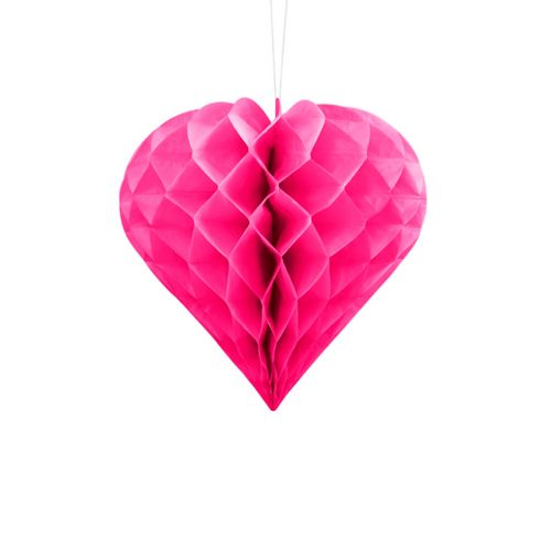HONEYCOMB HEART, DARK PINK, 20CM