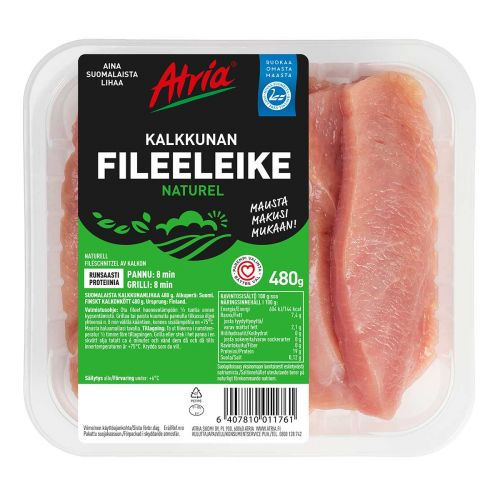 ATRIA NATUREL KALKKUNAN OHUT FILEELEIKE 480 G