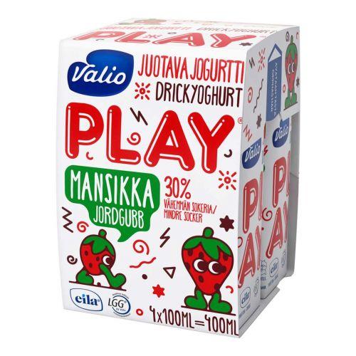 VALIO PLAY JUOTAVA JOGURTTI 4*100ML MANSIKKA HYLA 400 ML