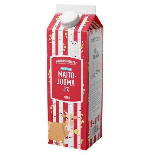 JUUSTOPORTTI LAKTOOSITON MAITOJUOMA 3% 1L