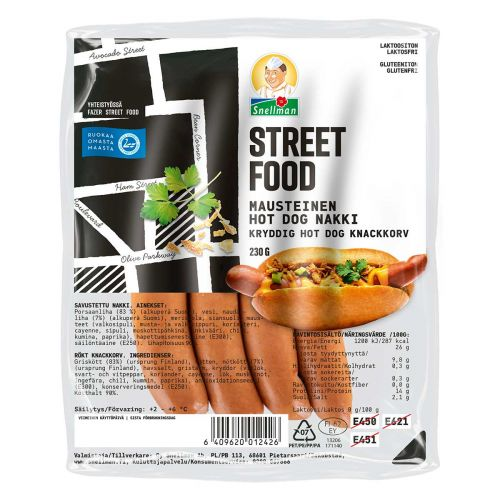 SNELLMAN STREET FOOD MAUSTEINEN HOT DOG -NAKKI 230 G