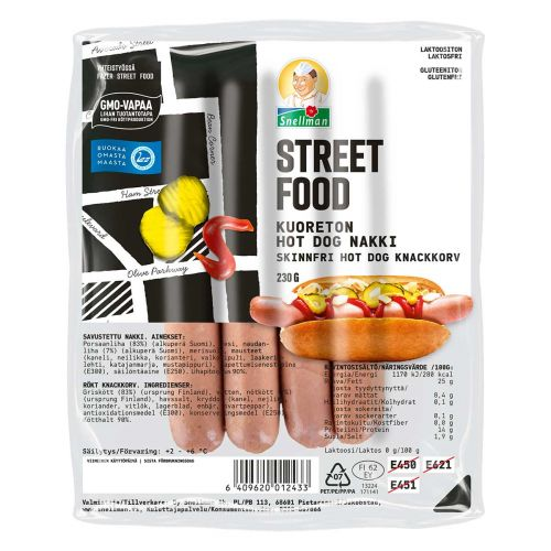 SNELLMAN STREET FOOD KUORETON HOT DOG -NAKKI 230 G