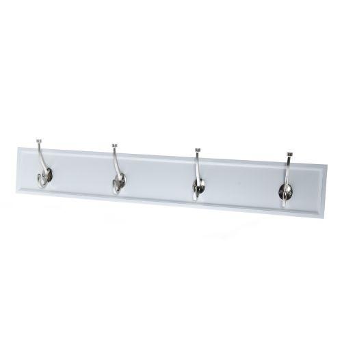 4Living Seinänaulakko valkoinen hopeakoukut 4kpl