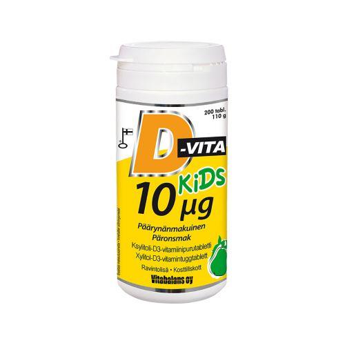 D-vita Kids 10µg päärynänmakuinen 200kpl