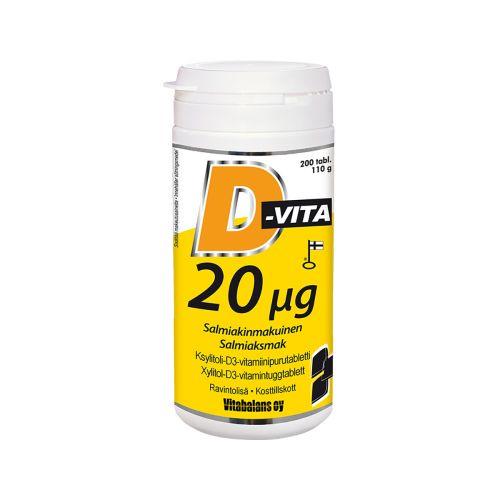 D-vita 20µg salmiakinmakuinen 200kpl