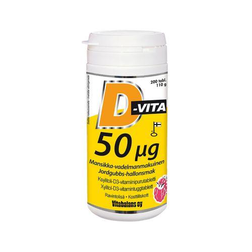 D-vita 50µg  mansikka-vadelmanmakuinen 200kpl