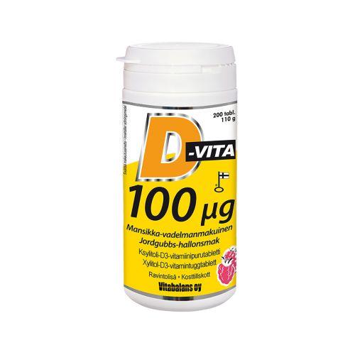 D-vita 100µg mansikka-vadelmanmakuinen 200kpl
