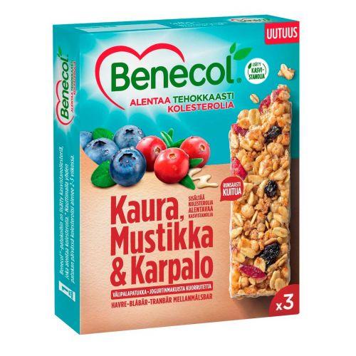 BENECOL KAURA-MUSTIKKA-KARPALO VÄLIPALAPATUKKA 3-PACK 120 G