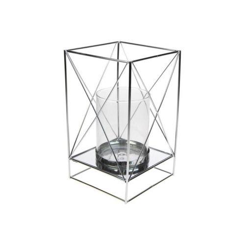 Neliö-lyhty 12x20cm hopea ristikko, kirkas lasi